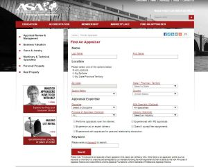 ASA: Find an Appraiser Site